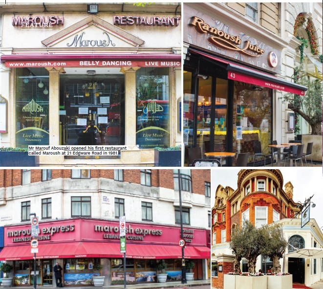 Mr Marouf Abouzaki opened his first restaurant called Maroush at 21 Edgware Road in 1981.